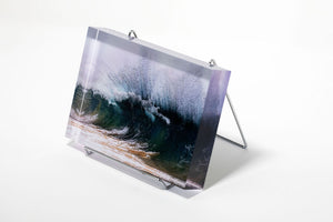 Stu Soley fine art acrylic photo block with a giant wave exploding taken at Makena in Maui, Hawaii
