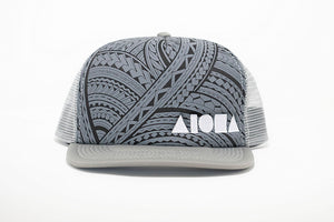 Adult flat brim snapback hat with Grey tribal print foam front panels embroidered with white Aloha Shapes logo. Grey mesh back panels.