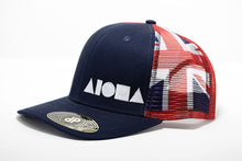 Side view Adult curved bill snapback hat with navy blue panels on front and Hawaiian flag printed on back mesh panels. Embroidered on front with red Aloha Shapes logo