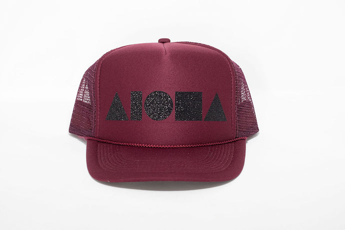 Maroon adult foam trucker hat foil printed with black sparkle Aloha Shapes logo