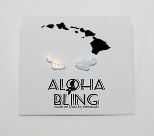 "Aloha Bling ""White Opal Maui"" Stud Earrings"