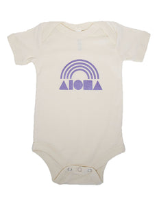 Natural cream color baby onesies printed with metallic purple Aloha Shapes Rainbow logo