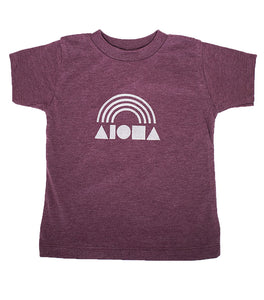 Aloha Shapes ® Rainbow heather maroon toddler tee hand screen-printed with metallic silver logo with rainbow. handmade in maui, hawaii