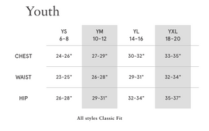 Youth baseball tee size chart