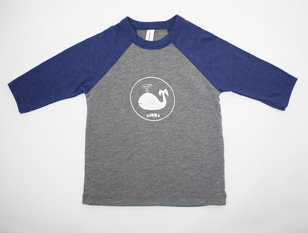 Baby Whale Toddler 3/4 Sleeve Baseball Tee