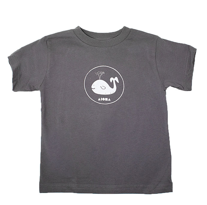 Baby Whale Aloha Shapes® toddler tee in grey. Handmade in Maui, Hawaii