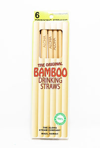 Bamboo reusable eco-friendly drinking straws with the word ALOHA wood-burned into sides. 6 per pack