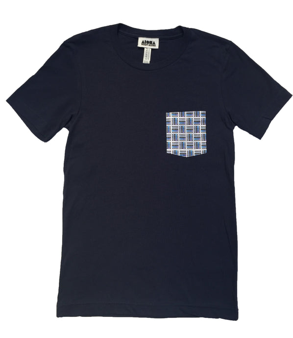 Unisex navy blue t-shirt with a digitally printed pocket showing our basketweave Aloha Shapes logo in various shades of blue