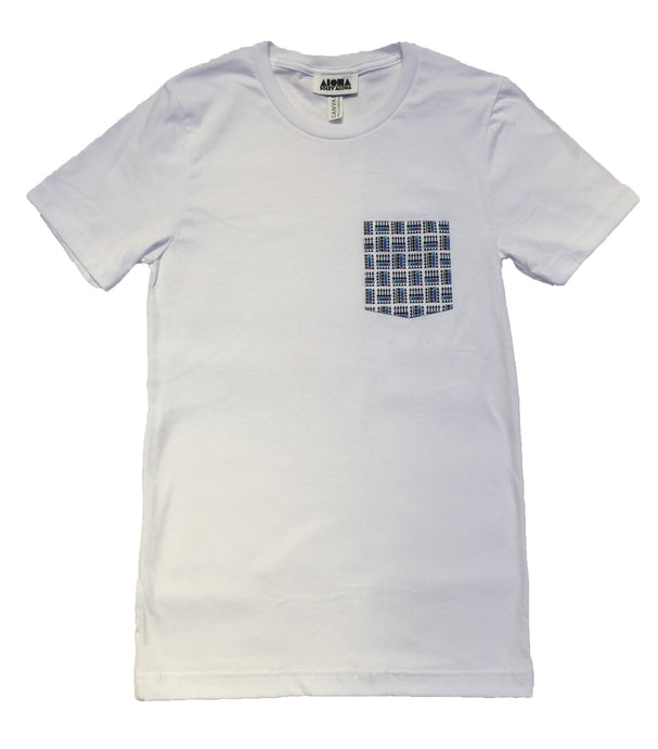 Unisex white t-shirt with a digitally printed pocket showing our basketweave Aloha Shapes logo in various shades of blue