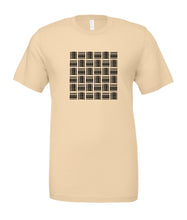 Cream colored unisex t-shift hand screen printed in Maui, Hawaii with a basketweave pattern in black made of alternating rows of our Aloha Shapes® logo