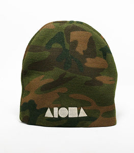 Camo printed adult beanie cap embroidered with Aloha Shapes® logo