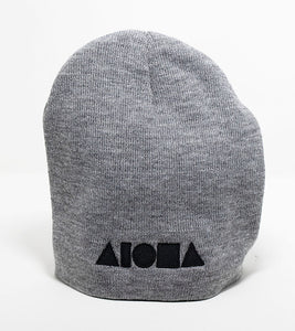 Grey knit cuff less beanie embroidered with Aloha shapes logo in black