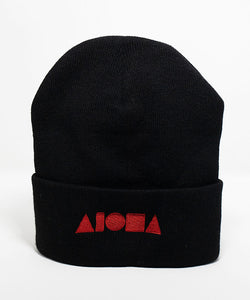 Black knit cuffed high-top beanie embroidered with Aloha Shapes logo in red