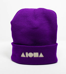 Purple knit cuffed high-top beanie embroidered with Aloha Shapes logo in silver