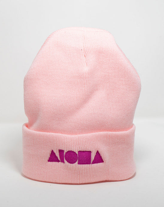 Pink knit high-top cuffed beanie embroidered with neon pink Aloha Shapes logo