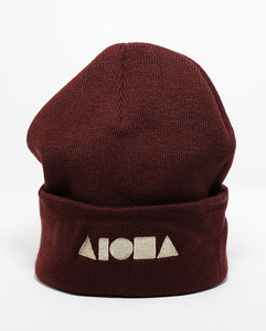 Maroon knit cuffed high-top beanie embroidered with Aloha Shapes logo in tan