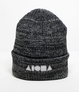 ribbed knit cuffed beanie in grey embroidered with Aloha Shapes logo in silver