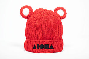 Red youth beanie with attached bear ears. Fleece lined. Embroidered with Aloha Shapes logo