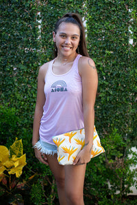 Young woman wearing Aloha Shapes® Rainbow women flowy racerback tank hand printed in Maui, Hawaii