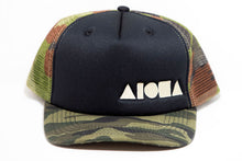 Camo print foam front mesh back curved bill snapback embroidered with white Aloha Shapes® logo