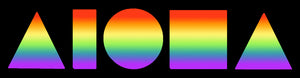 Decal sticker. Rectangle black background with ombre rainbow Aloha Shapes® logo