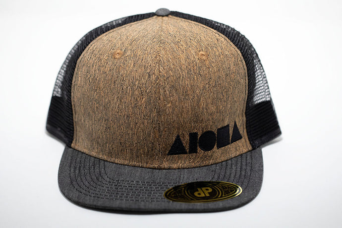 Cork composite veneer Mesh back adult flat brim snapback hat embroidered with black Aloha Shapes ® logo