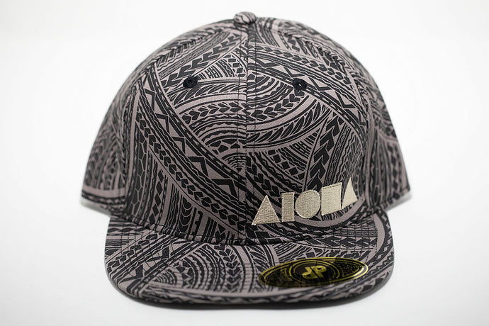 Grey and black tribal tattoo pattern adult flat brim snapback hat embroidered with gold Aloha Shapes ® logo
