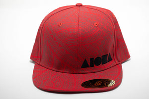 Red and brown tribal Polynesian tattoo pattern adult flat brim snapback hat embroidered with black Aloha Shapes ® logo