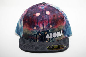 Tie-dye pattern adult flat brim snapback hat embroidered with white Aloha Shapes ® logo