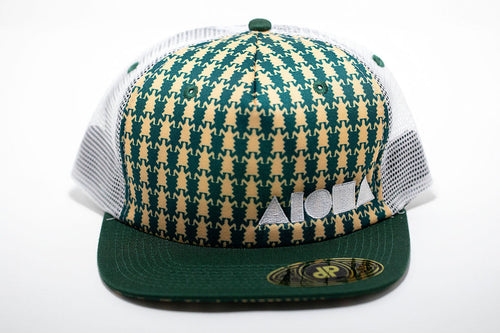 Green and beige tribal repeating turtle print adult flat brim mesh back snapback hat embroidered with white Aloha Shapes ® logo