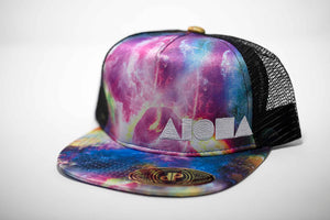 Youth flat brim snapback hat. Satin space/cosmic print fabric on brim and front panels. Black mesh back panels. Embroidered with cream color ALOHA Shapes ® logo