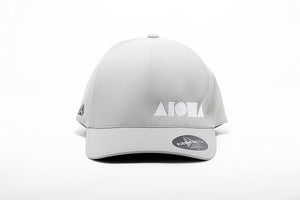 Delta Flexfit adult hat in light grey embroidered with Aloha Shapes® logo in white