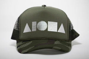 """Camo Green/Silver"" Adult Trucker Hat"
