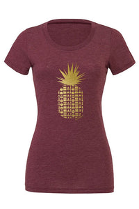 Womens fitted Repeat Pineapple t-shirt printed in Maui, Hawaii