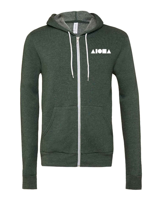 Heather forest green adult zip-up fleece hoodie hand-screenprinted with Aloha Shapes ® logo in white