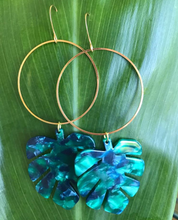 Monstera leaf shape casted resin hoop earrings handmade in Maui Hawaii