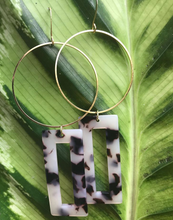 Rectangular faux tortoise shell casted resin hoop earrings handmade in Maui Hawaii