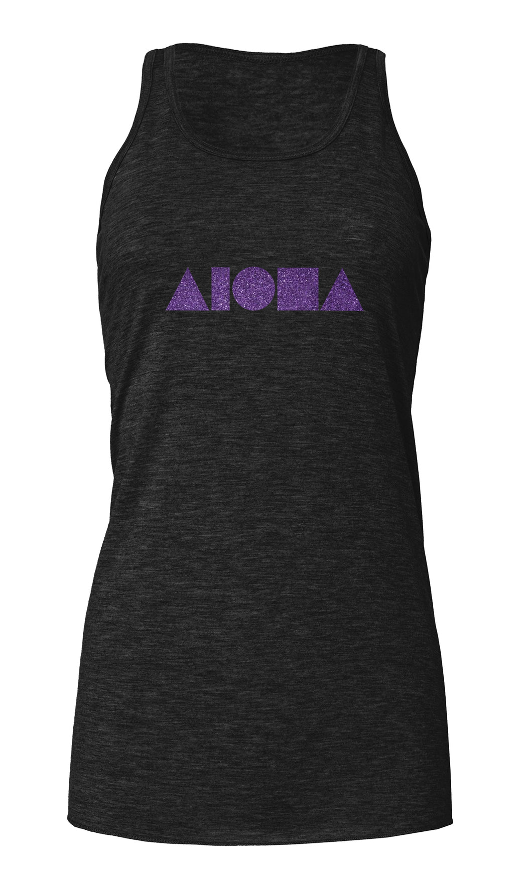 Aloha Shapes Heather Black & Purple Women's Flowy Racerback Tank