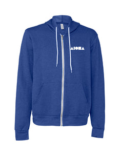Aloha Shapes Heather True Royal Unisex Zip-up Fleece Hoodie