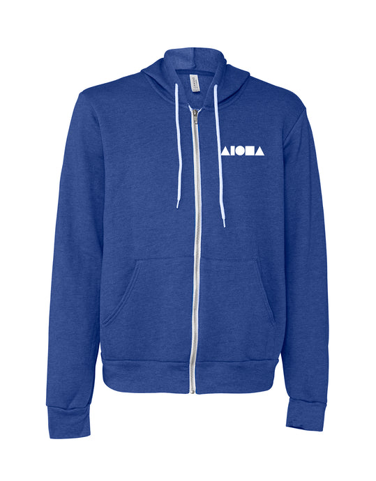 Heather royal blue adult fleece zip-up hoodie hand-screenprinted with Aloha Shapes ® logo in white
