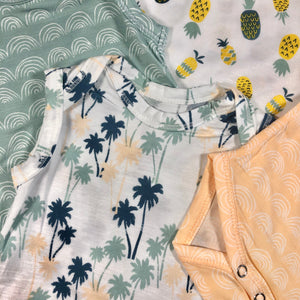 Tropical print babies sleeveless onesies designed in Maui, Hawaii