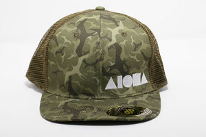 Iwa bird print fabric in shades of green and olive green mesh Adult curved bill snapback hat embroidered in Maui Hawaii with tan Aloha Shapes logo