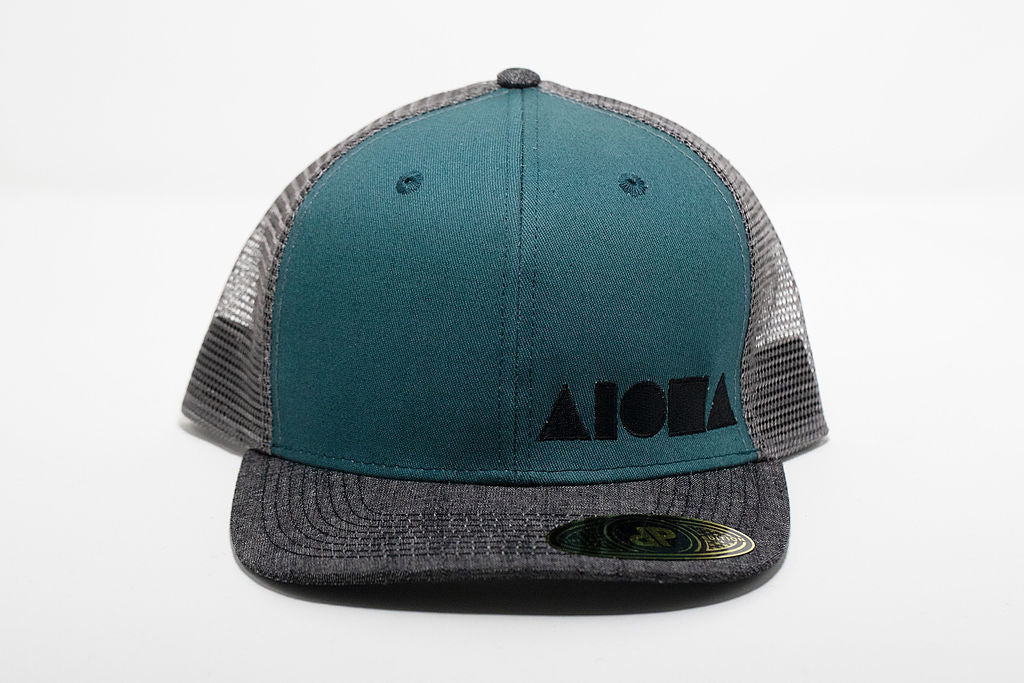 Jade green and grey mesh adult flat brim snapback hat embroidered in Maui Hawaii with black Aloha Shapes logo