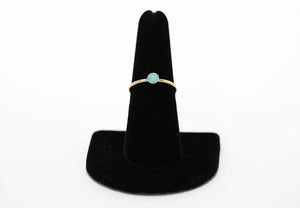 14 karat gold fill and blue opal ring handmade in Maui, Hawaii