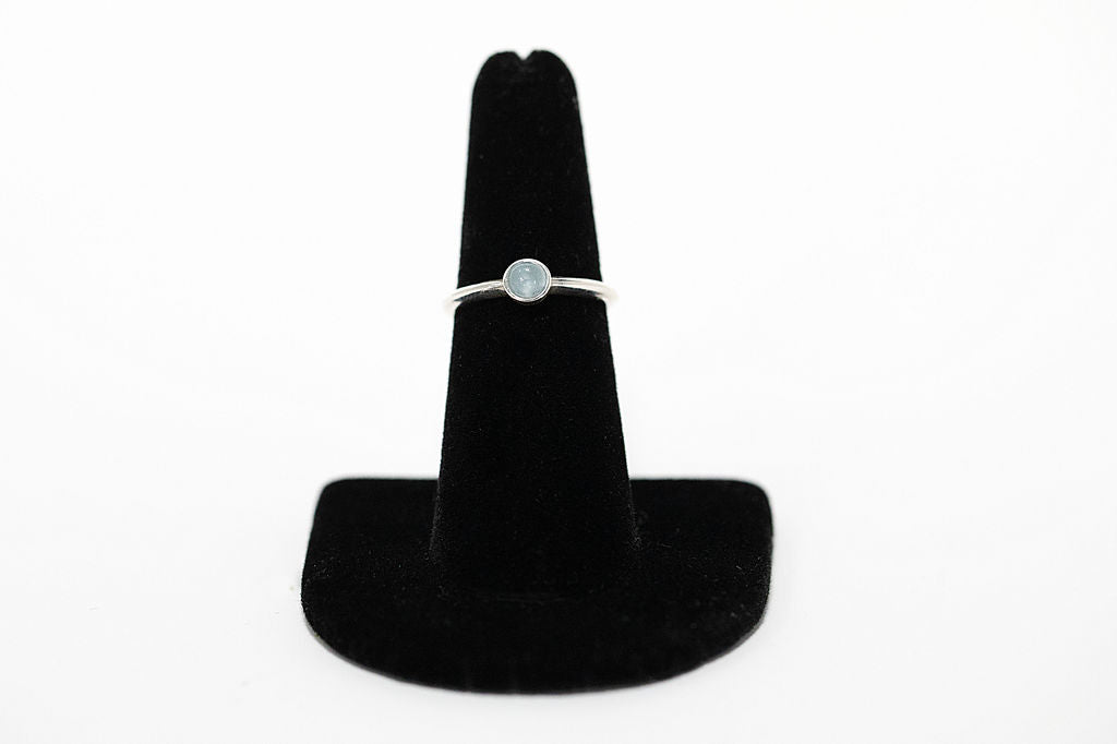 Sterling silver and white opal ring handmade in Maui, Hawaii
