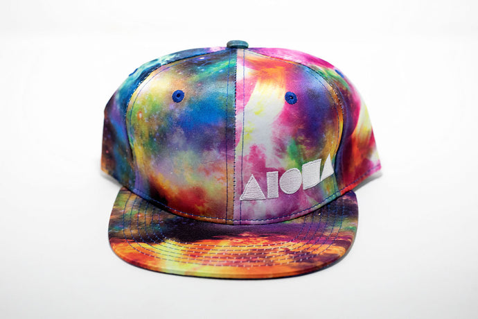 Satin space print toddler snapback hat embroidered with black Aloha Shapes ® logo.