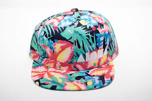 Tropical ginger flower floral print youth snapback hat embroidered with white Aloha Shapes ® logo.