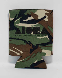 "Camouflage Aloha Shapes ® logo koozie with tagline below ""It's not just love, it's a lifestyle"""