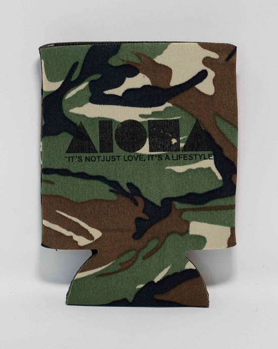 Camouflage Aloha Shapes ® logo koozie with tagline below