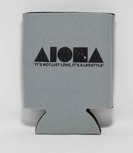 "Grey Aloha Shapes ® logo koozie with tagline below ""It's not just love, it's a lifestyle"""